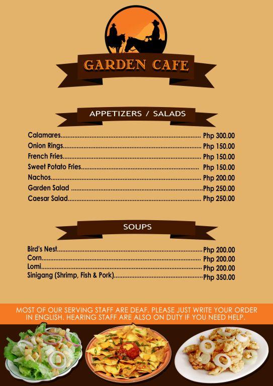 menu garden cafe restaurant tagbilaran bohol